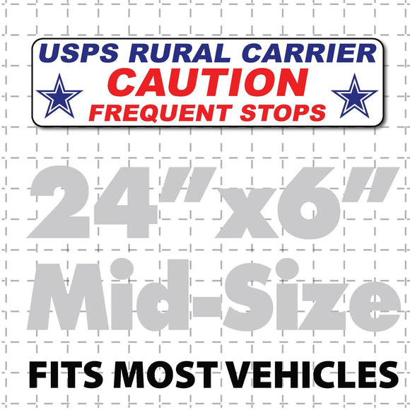 US Mail Magnetic Sign for Rural Carrier Caution Frequent Stops 24x6