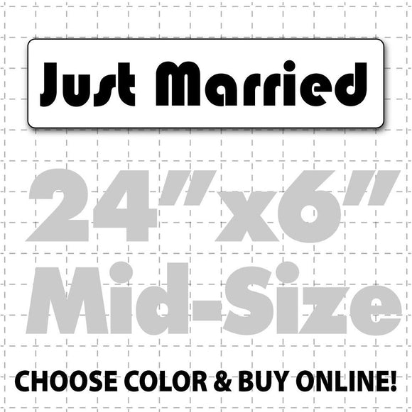 Magnet for wedding car reading Just Married in a fun font for a bride and groom to announce their marriage on vehicle or limo