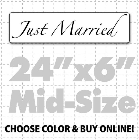"24"" x 6"" Just Married Car Sign (elegant text) - Wholesale Magnetic Signs"