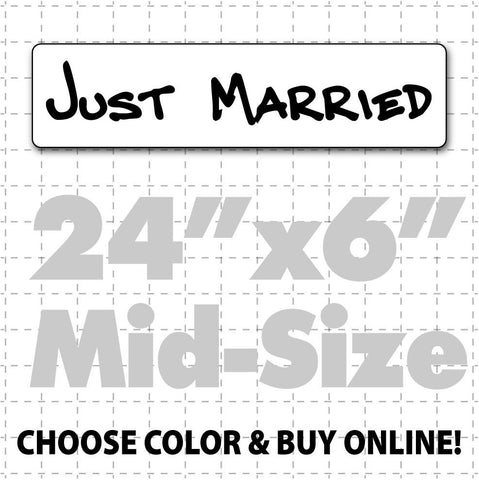 "24"" x 6"" Just Married Car Sign (hand font) - Wholesale Magnetic Signs"