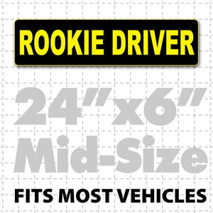 "Rookie Driver Car Sign Magnet 24"" X 6"" - Wholesale Magnetic Signs"