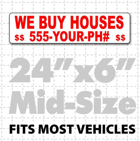 "24"" X 6"" We Buy Houses Magnetic Sign - Wholesale Magnetic Signs"