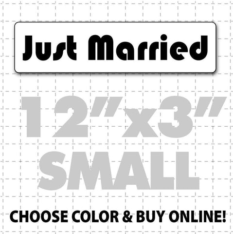 "12"" x 3"" Just Married Car Magnet (disco font) - Wholesale Magnetic Signs"