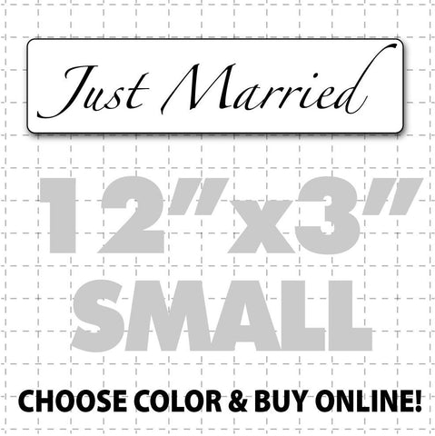 "12"" x 3"" Just Married Car Sign (elegant text) - Wholesale Magnetic Signs"