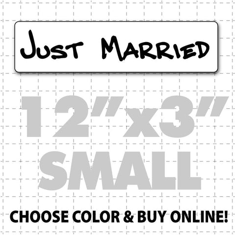 "12"" x 3"" Just Married Car Sign (hand font) - Wholesale Magnetic Signs"