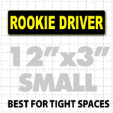 "12"" X 3"" Rookie Driver Magnetic Car Sign yellow text on black"
