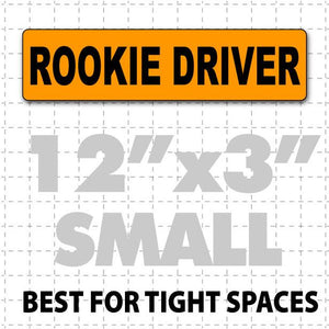 "12"" X 3"" Rookie Driver Magnetic Car Sign for new drivers black and orange"