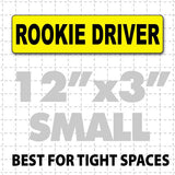 "12"" X 3"" Rookie Driver Magnetic Car Sign black text on yellow"