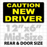 Yellow and black Caution New Driver Magnetic Car Sign 12x6""