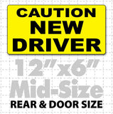 "12x6"" black & yellow Caution New Driver Magnetic Car Sign"