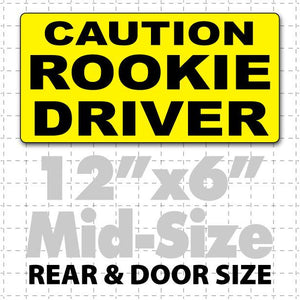 "12"" X 6"" Caution Rookie Driver Magnetic Car Sign black & yellow for doors"