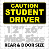 "12"" X 6"" Caution Student Driver Magnetic Car Sign Yellow text on black"