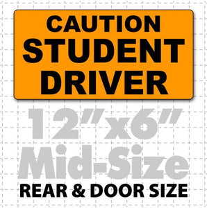 "Small 12"" X 6"" Caution Student Driver Magnetic Car Sign black & orange"