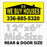 "12"" X 6"" We Buy Houses Magnetic Sign black on yellow"