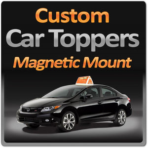 Lighted Car Top Sign with Magnetic Mount & 4-Sided Display Surface - Wholesale Magnetic Signs