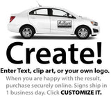 Create and Customize a 24x18 magnetic sign using text images logos and photos online example of a black magnet on white car.