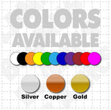 Color options for bridal magnetic car signs that read just married for bride and groom car that match wedding party colors.