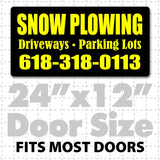"24"" x 12"" Magnetic Snowplow signs reading snow plowing driveways parking lots for trucks that plow snow with large text"