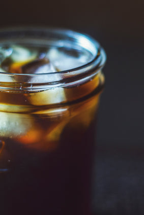 cold-brewed coffee in mason jar