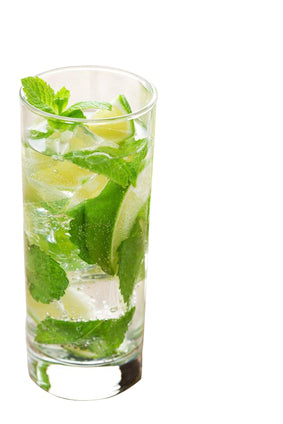 iced mint green tea in clear glass