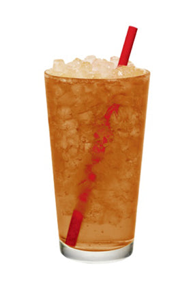 iced ginger slush in clear glass with straw