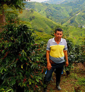 coffee grower standing next to coffee plant