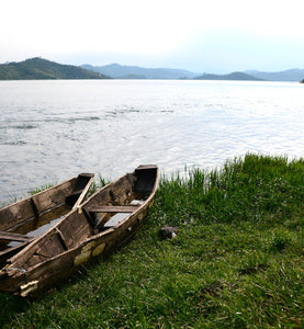 Two canoes on bank of Lake Kivi