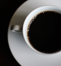 black coffee in a white ceramic coffee cup