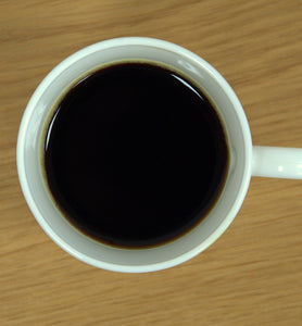 black coffee in white coffee cup