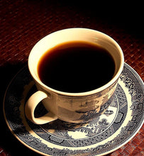 black coffee in vintage porcelain coffee cup