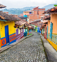 colombian colorful colonial homes on cobbled street