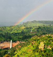 Rainbow rises above Sipi Falls