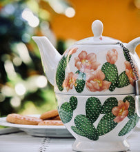 tea brewing in floral teapot