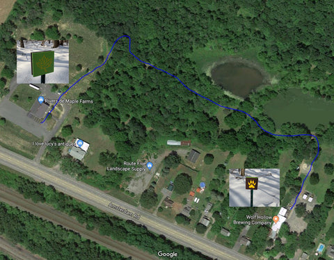 Map of Maple Beer trail from Riverside Maple Farms to Wolf Hollow Brewing Co.