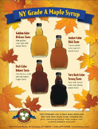 Four grades of maple syrup: Golden, Amber, Dark, and Very Dark