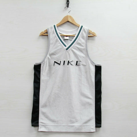 Vintage Nike Basketball Jersey Size Medium Metallic Silver 90s Embroidered