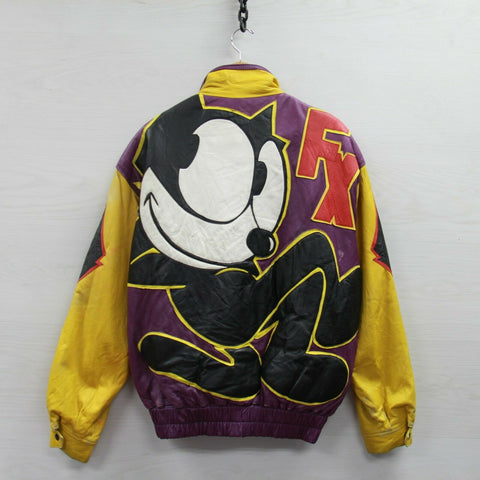 Vintage Felix The Cat Leather Jacket Size Large 80s 90s Dapper Dan Comic Cartoon