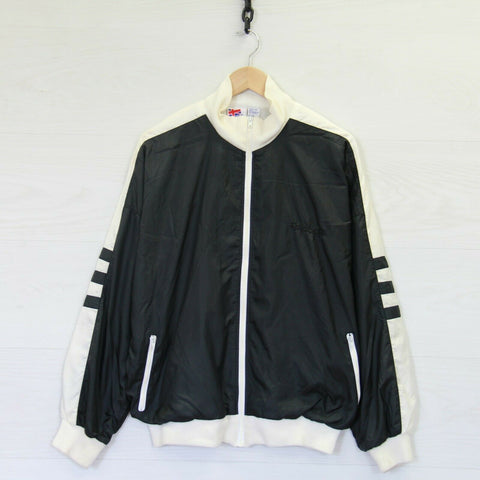 Vintage Reebok Light Track Bomber Jacket Black White Size Large