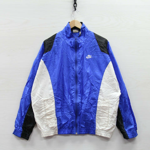 Vintage Nike Windbreaker Jacket Large Blue 80s 90s Gray Tag Embroidered Swoosh