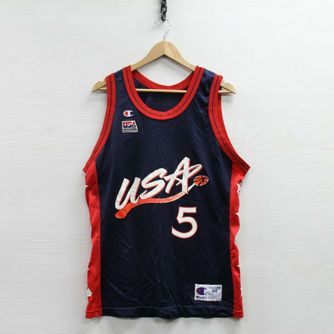Vintage 1992 Grant Hill #5 Dream Team USA Champion Jersey Size 44 90s Olympics
