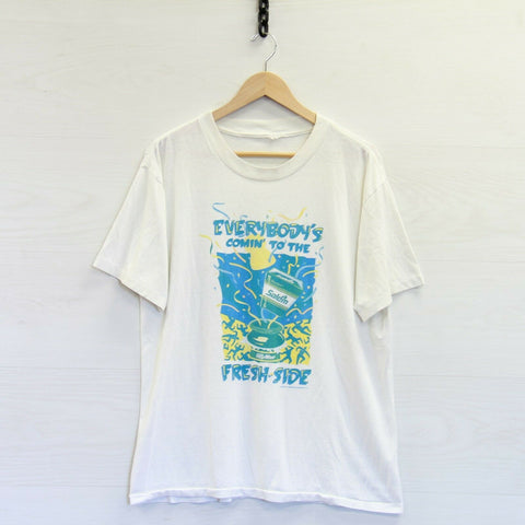 VTG 1992 Salem Cigarettes Coming To The Fresh Side T-Shirt XL White Paper Thin