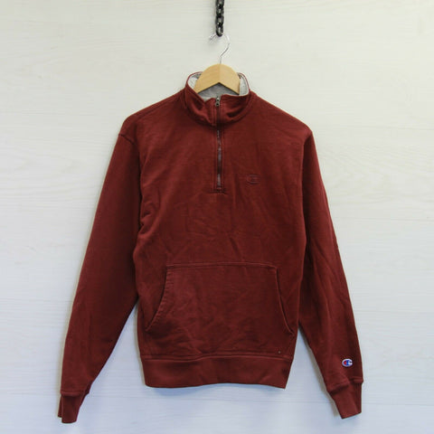 Champion 1/4 Zip Sweatshirt Pullover Size Small Maroon Burgundy Red