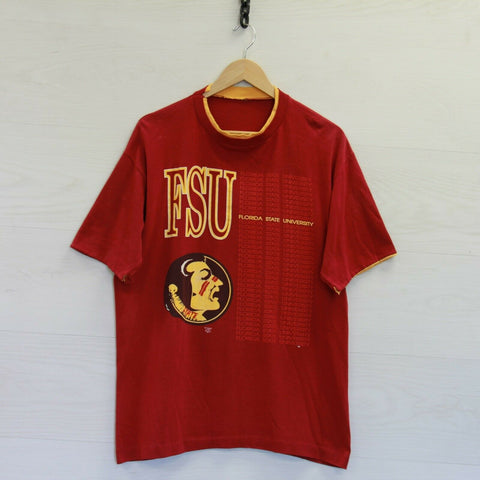 Vintage Florida State Seminoles T-Shirt Size XL Burgundy 90s NCAA Double Sleeve