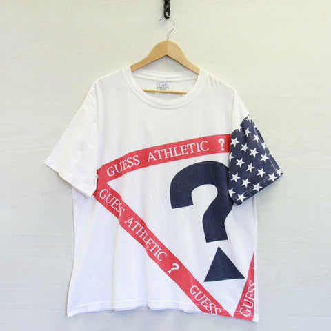 VTG Guess Athletic Activewear USA American Flag T-Shirt XL White Stars Stripes
