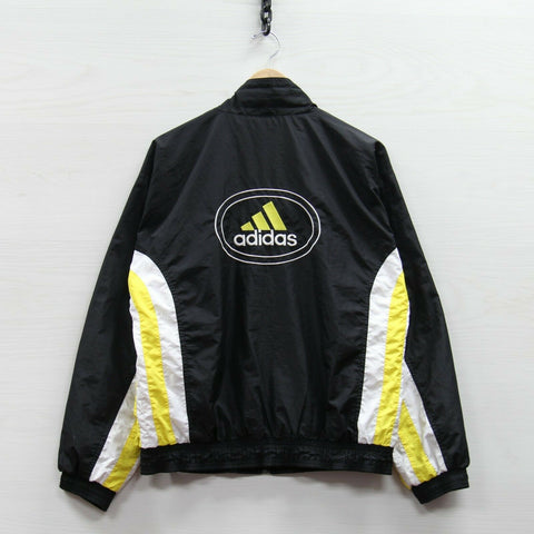 Vintage Adidas Windbreaker Light Jacket Size Small Black Yellow 90s Embroidered