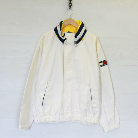 Vintage 90s Tommy Hilfiger Neck Spell Out Flag Patch Light Jacket White Size XL
