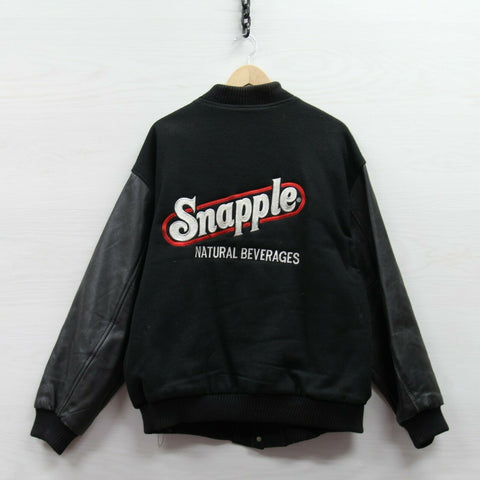 Vintage Snapple Leather Wool Bomber Jacket Size 2XL Black Made USA