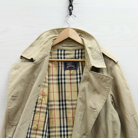 Vintage Burberrys Trench Coat Jacket Size 52 Short Beige Tan Belted Button Up