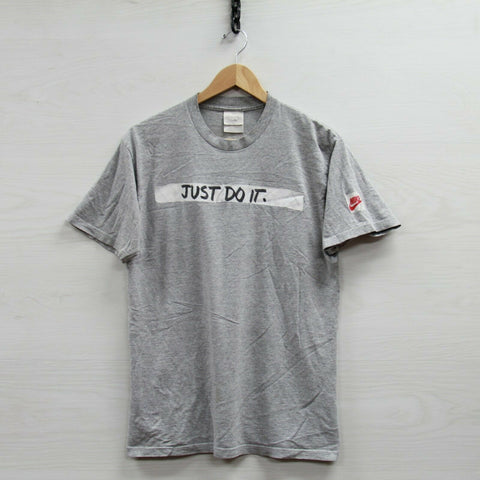 Vintage Nike T-Shirt Size Small Gray Just Do It Spell Out