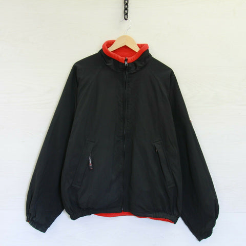 Vintage Nautica Competition Reversible Fleece Jacket Size XL Black Red Sailing